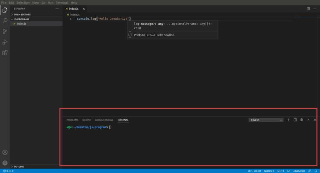 how to run javascript in visual studio code
